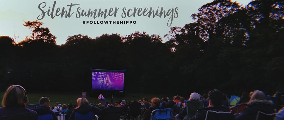 Open Air Cinema Screen, Audience and Silent Summer Screenings Tag Line